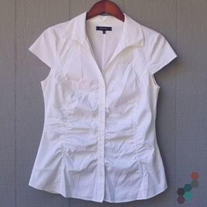 Lafayette 148 Ruched Button Down Cap Sleeve Top 10